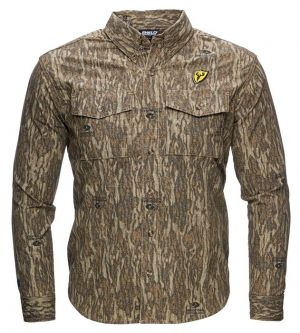 Fused Cotton Button Up Shirt-Mossy Oak New Bottomland-Medium