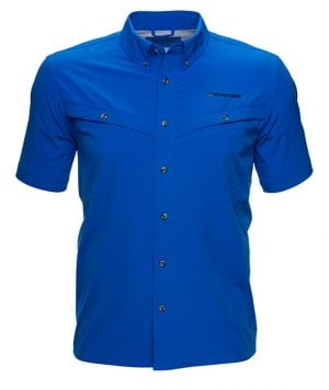 Whitewater Rapids Short Sleeve Fishing Shirt -Strong Blue-Small